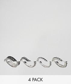 4 кольца с гравировкой ASOS DESIGN - Серебряный