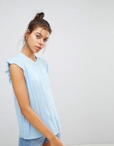 Джинсовая рубашка без воротника с короткими рукавами Blend She Elisa - Синий