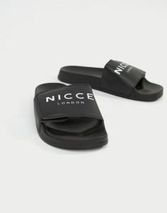 Черные шлепанцы с логотипом Nicce London - Черный