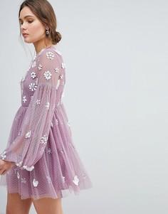 Платье мини с цветами и объемными рукавами ASOS - Фиолетовый