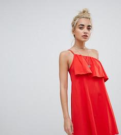 Сарафан на одно плечо с оборкой ASOS DESIGN Petite - Красный