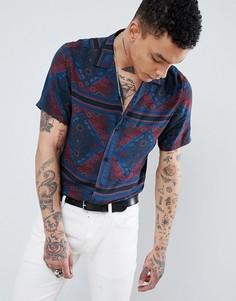 Рубашка классического кроя с принтом пейсли ASOS DESIGN - Темно-синий