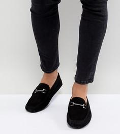 Черные замшевые мокасины для широкой стопы с пряжками ASOS DESIGN - Черный