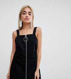 Джинсовое платье-сарафан на молнии с собачкой-кольцом Chorus Petite - Черный