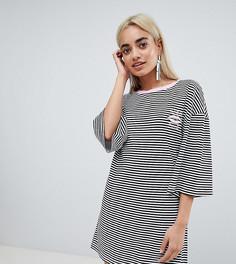 Платье-футболка в полоску с рукавами клеш и вышивкой Chorus Petite - Черный
