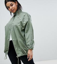Куртка с отделкой искусственным жемчугом ASOS DESIGN Curve - Зеленый