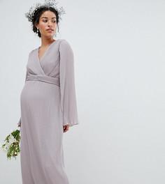 Платье макси с запахом и отделкой кейп TFNC Maternity - Серый