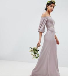 Декорированное платье макси с открытыми плечами и эффектными рукавами TFNC - Серый
