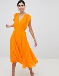 Платье миди с плиссированной отделкой и вырезами ASOS DESIGN - Оранжевый
