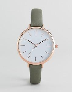 Минималистские часы с ремешком цвета хаки ASOS DESIGN - Зеленый