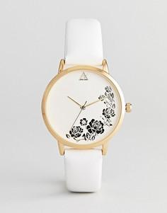 Часы с гравированным цветочным узором ASOS DESIGN - Белый