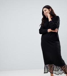 Трикотажное платье макси с вышивкой на подоле ASOS DESIGN Curve - Черный