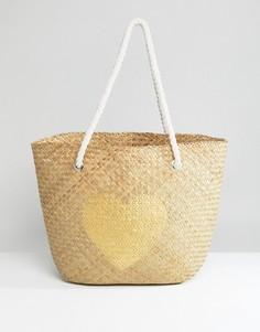 Пляжная соломенная сумка с золотистым сердцем South Beach - Мульти