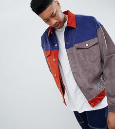 Темно-синяя вельветовая oversize-куртка в стиле колор блок ASOS DESIGN Tall - Темно-синий