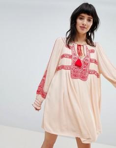 Платье мини с вышивкой Free People Wind Willow - Белый