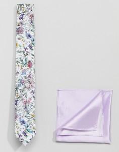 Галстук с цветочным принтом и однотонный платок-паше Gianni Feraud - Мульти