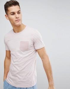 Футболка с полосками и карманом Selected Homme - Розовый