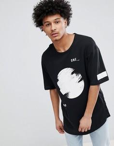 Длинная футболка с графическим принтом и заниженной линией плеч Jack & Jones Core - Белый