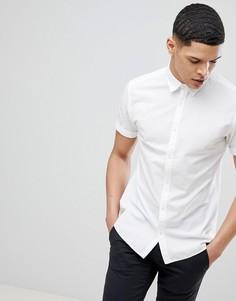 Рубашка с добавлением льна и короткими рукавами Jack & Jones Premium - Белый