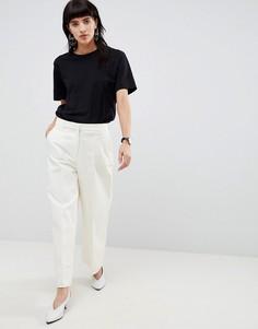 Широкие укороченные брюки Selected - Кремовый
