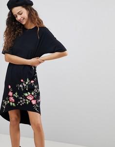 Асимметричное платье-футболка с вышивкой ASOS DESIGN - Черный