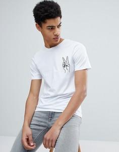 Премиум-футболка с вышивкой на груди Jack & Jones - Белый