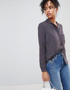 Рубашка с принтом в стиле ретро и воротником в виде лацканов Pepe Jeans Talya - Темно-синий