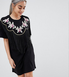 Платье-футболка с вышивкой и бахромой ASOS DESIGN Petite - Черный