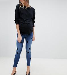 Темные джинсы скинни с завышенной талией и флоковым узором в горошек ASOS DESIGN Maternity Ridley - Синий