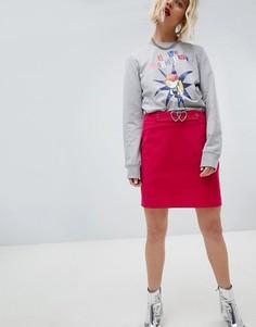 Мини-юбка с поясом и пряжкой в форме сердец Love Moschino - Красный