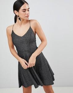 Приталенное платье мини цвета металлик AX Paris - Черный