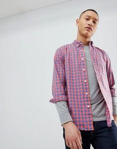 Красная поплиновая рубашка в клетку с воротником на пуговицах Abercrombie & Fitch - Красный