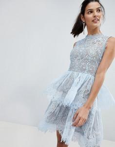 Кружевное платье мини с ярусными оборками Bronx and Banco - Синий
