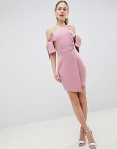 Платье мини с запахом и завязками на рукавах ASOS DESIGN - Розовый