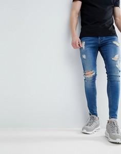 Синие обтягивающие джинсы с рваной отделкой Gym King - Синий