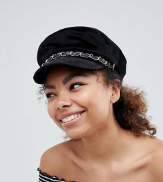 Черная кепка газетчика с отделкой цепочкой My Accessories - Черный