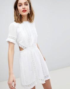 Кружевное приталенное платье River Island - Белый