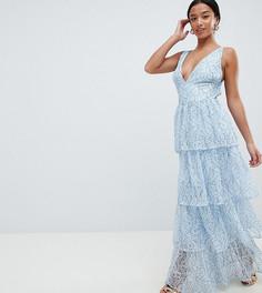 Ярусное кружевное платье макси Missguided Petite - Синий