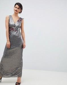 Платье макси с пайетками Little Mistress - Коричневый