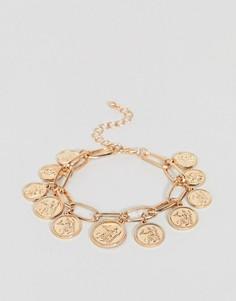 Браслет с подвесками-монетами New Look - Золотой