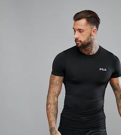 Черная компрессионная футболка с отражающим логотипом Fila Vintage Sport - Черный