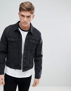 Черная выбеленная джинсовая куртка Burton Menswear - Черный