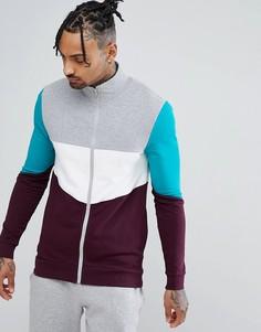 Обтягивающая спортивная куртка с контрастной отделкой ASOS - Серый