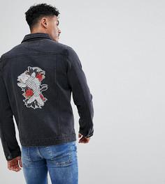 Джинсовая куртка с вышивкой Liquor N Poker - Черный