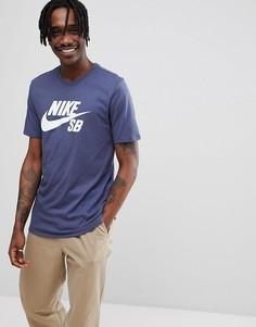 Темно-синяя футболка с логотипом Nike SB 821946-471 - Темно-синий