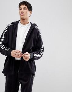 Спортивная куртка свободного кроя из черного велюра adidas Originals adicolor CY3541 - Черный