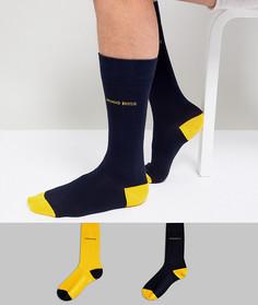 Набор из 2 пар носков с контрастными вставками на носке и пятке BOSS - Мульти