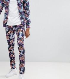 Облегающие брюки с цветочным принтом ASOS DESIGN Tall - Темно-синий