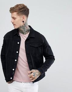 Черная джинсовая куртка с рваной отделкой Religion - Черный