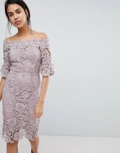 Ажурное платье миди с оборками на рукавах Paper Dolls - Розовый